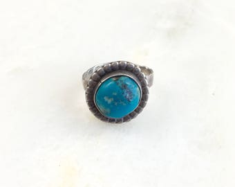 Vintage Sterling Navajo Turquoise Ring Size 5