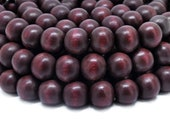 12mm Burgundy Red Round Wood Beads Dyed and Waxed 15 inch strand