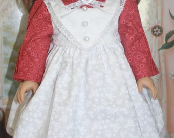 American Girl Style Pinafore Dress in Rose