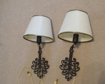 Vintage Pair Of 2 Black Decorative Wall Lamps With Fabric Shades, Wall Lighting With Shade, Bedroom Lighting
