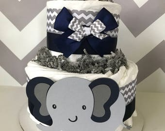 Elephant Diaper Cake (2 tier) in Navy and Gray, Elephant Baby Shower Centerpiece