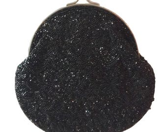 1950s Black beaded Coin Purse Clutch