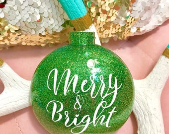 Merry & Bright Glitter Ornament