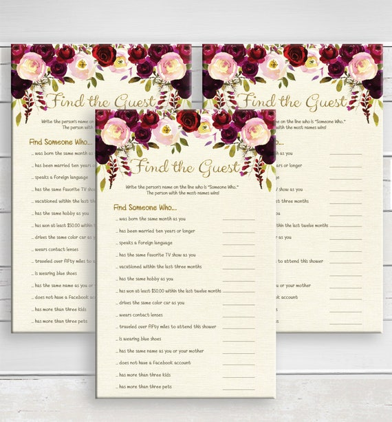 Find The Guest Bridal Shower Game Ice Breaker Game