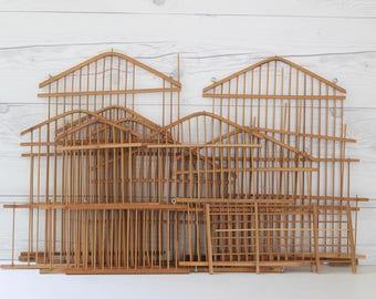 Vintage Bamboo Bird Cage Parts/Panels, Vintage Birdcage Salvaged Parts, Mixed Media Art Supply