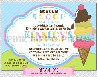 Ice Cream, Social, Forzen Yogurt:Design #099-Children's Birthday Invitation, Personalized, Digital, Printable, 4x6 or 5x7 JPG