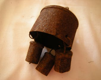 vtge bell-set of 3 small bells-rusty-tustic-maybe sheep bells-art-crafts-assemblage-salvage-
