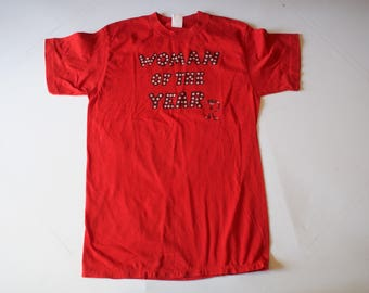 Vintage 1980s Woman of the Year Red T Shirt Small