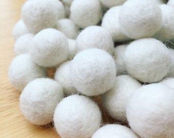 Ivory/white felt ball garland
