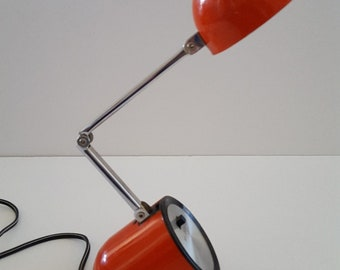Vintage Mod desk lamp in orange, late 60's early 70's design and color, high intensity lamp, No. 93 bulb, cantilevered armature