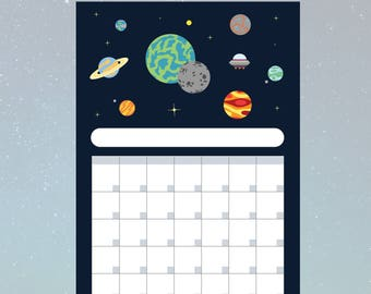 Solar System Blank Monthly Planner/Schedule - PDF DOWNLOAD - A4 (210x291mm)