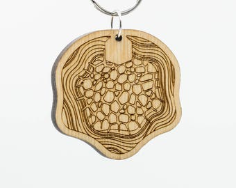 Altered Carbon Keychain - Cortical Stacks Keychain - Altered Carbon Carved Wood Key Ring - Altered Carbon Stack Wooden Engraved Keychain