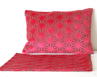 Red Gray Pillows Covers