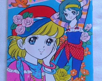 Vintage japan coloring book, showa era anime, shoujo big eye girl