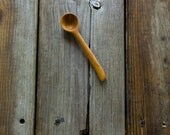 Wood spice salt scoop spoon handmade in cherry small round bowl and short handle with a little turn at the end sanded super smooth