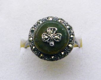 Sterling silver Art Deco Irish Connemara marble and marcasite ring size 7.25