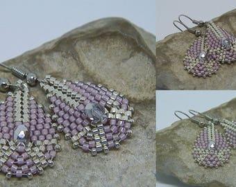 Woven purple and Silver earrings