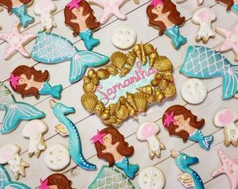 Mermaid cookies Under the Sea Cookies Birthday cookie set