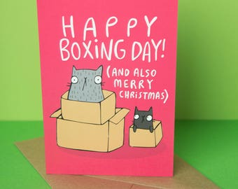Happy Boxing Day - Merry Christmas - cats Greeting Card - Funny Christmas card - Pun card - Katie Abey - Xmas - crazy cat lady - animal card