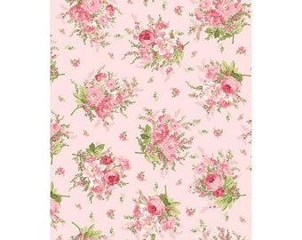 Summer Sale- Heather~Floral Bouquet on Pink~~Cotton Fabric~Maywood Studio~Fast Shipping F955