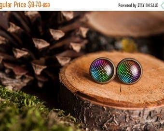 20% OFF Tiny disco ball earrings, disco ball stud earrings, antique brass earrings, gun metal studs, post earrings, stud earrings, glass ear