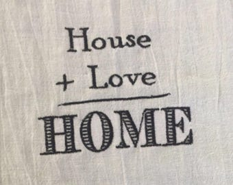 """Custom  Embroidered """" House+Love-Home"""" Pillow Cover"""