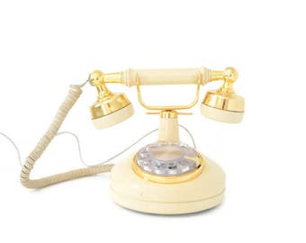 Working Vintage Dial Landline Phone French Rotary Western Electric Telephone Gold Color Photoshoot Prop Decoration Retro Victorian Old Timey