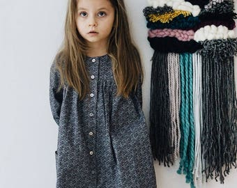 Twig Print Girls Dress, Cotton, Side Pockets, Long Sleeve