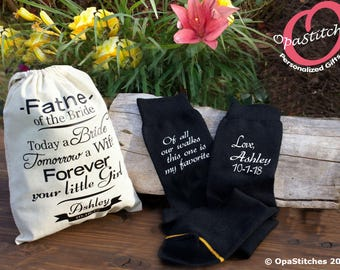 Personalized Father of the Bride socks, with name and wedding date,father of bride gift for day of wedding with personalized gift canvas