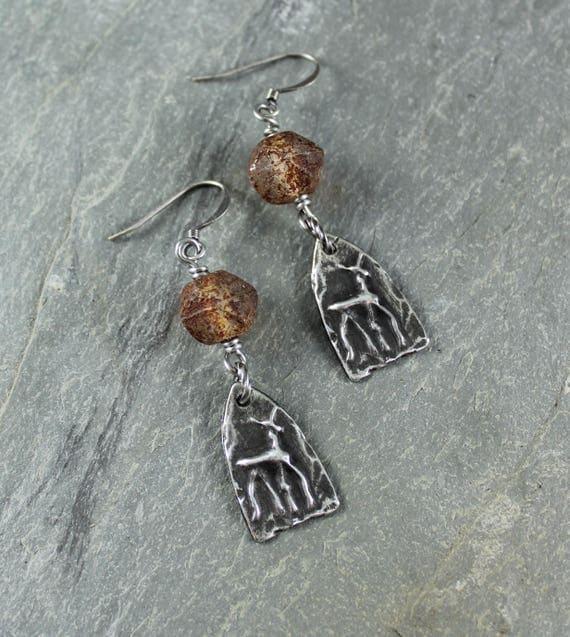Boho Chic ~ Rustic Romantic ~ Deer ~  Cave Art ~ Tribal  earrings