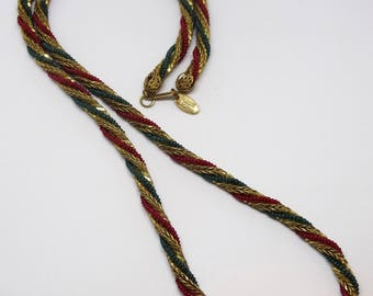 1970s Miriam Haskell Gold Metal Beaded Intertwined Rope Chain Red Green Necklace