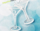 Martini Glass charms - 2 pcs, clear, laser cut acrylic, engraved, DIY, transparent, white etch