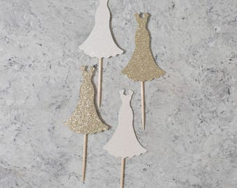 Wedding dress cupcake toppers; Bachelorette/Bridal shower cupcake toppers