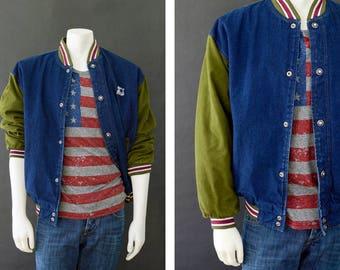 Vintage 90s STARTER Jacket, STARTER Denim Color Block Varsity Bomber Jacket, Size Medium, 90s Urban Style, Men's Dark Wash Denim Jacket