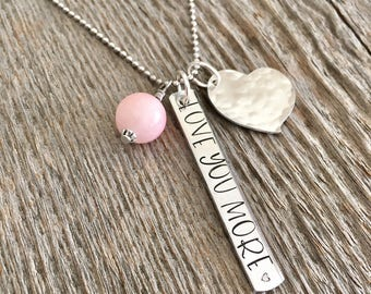 Love You More Necklace, Valentines Day Necklace, Silver Love Necklace, Pink Heart Necklace, Heart Charm Necklace, Gift for Her, Mothers Day