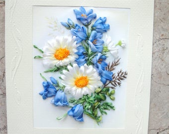 "silk ribbon embroidered card ""Summer melody..."""
