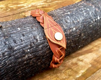Woven Leather Bracelet With Leaf Detail