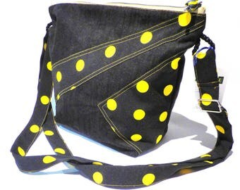 "Shoulder bag / handbag original woman black and yellow polka dots ""CL"""