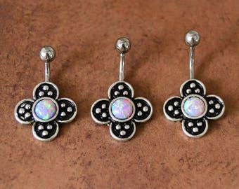 Little Purple Fire Opal Belly Ring 3 Sizes Purple Fire Opal Belly Button Ring, Short Bar Navel Ring Jewelry, 14G Surgical Steel