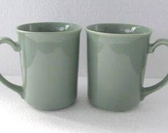 1970's Vintage Corning (2) Original Light Green Color Collectible Coffee Mugs, NY, USA
