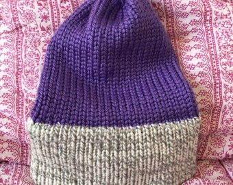 """Thick Hand Knitted Pink Beanie/Hat (fits adult, 21"""" circumference) - purple with gray brim"""