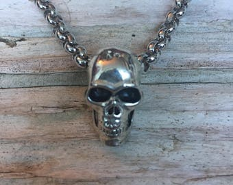 Men's Silver Skull Pendant Necklace \\ Men's Jewelry \\ Skull Jewelry \\ Father's Day Gift