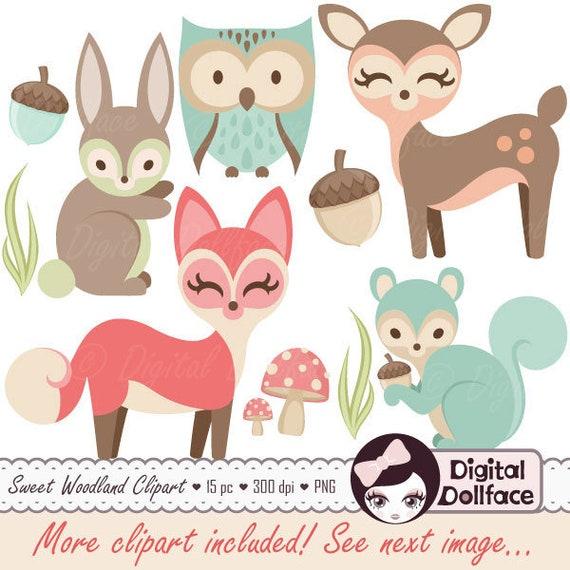 Woodland Nursery Clipart Baby Animals Clip Art Forest Friends