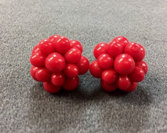 Red Glass Beaded Clip Earrings. Free shipping