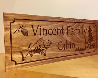 Cabin Sign, Family Last Name Sign, Welcome Signs, Bass Fish, rustic decor, Camping Sign, wooden carved Sign Wood sign, Fishing, Hunting