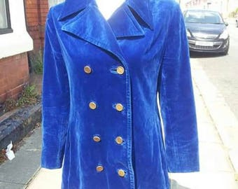 Amazing decadent VOLUP late 1950s/60s double breasted blue velvet jacket