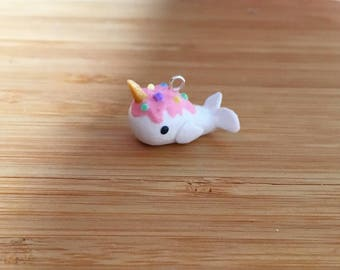 Ice Cream Narwhal - Stitch Marker or Progress Keeper Charm