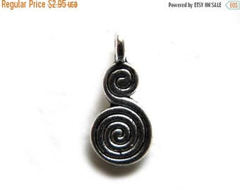 HALF PRICE 10 Silver Double Spiral Charms - 20mm