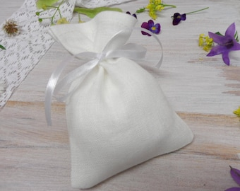 White linen bags 300. Jewelry bag. Candy bags. Small gift bags. Burlap mini bags. Favor bags. Romantic wedding