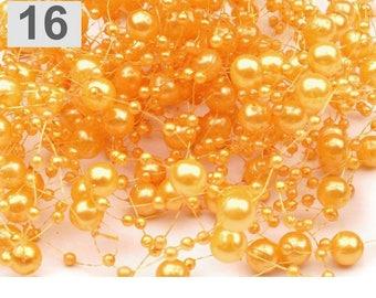 Wreath adorned with pearls 130 cm yellow orange